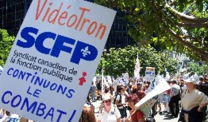 La Caisse de dépôt et placement du Québec interpelléeManif des employés de Vidéotron devant la CDP