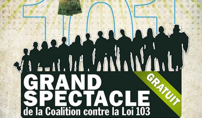 Grand spectacle de la Coalition contre le projet de loi 103 sur les écoles passerelles