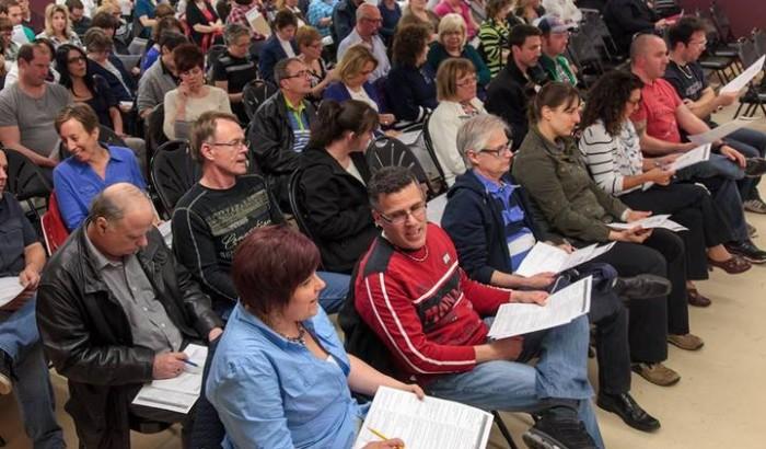 L'assemblée générale du syndicat des cols blancs de Saint-Jean-sur-Richelieu, le 29 avril