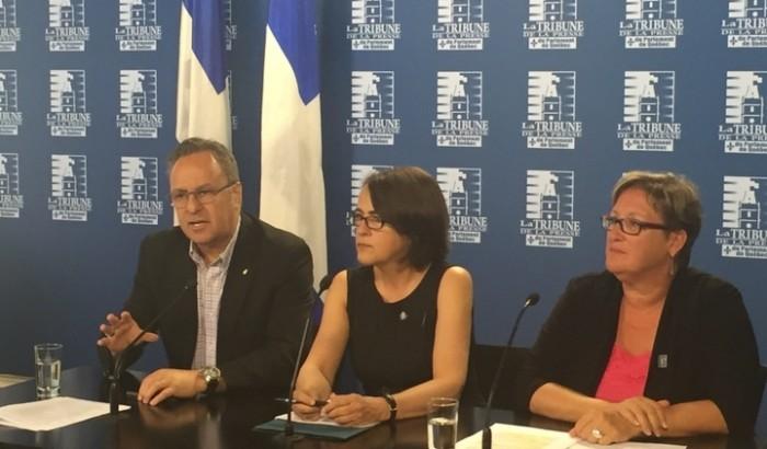 Les porte-parole du Front commun en conférence de presse le 5 juin 2015