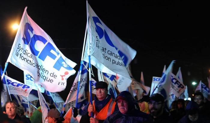Manifestation d'employés en grève du CSSS Jardins-Roussillon