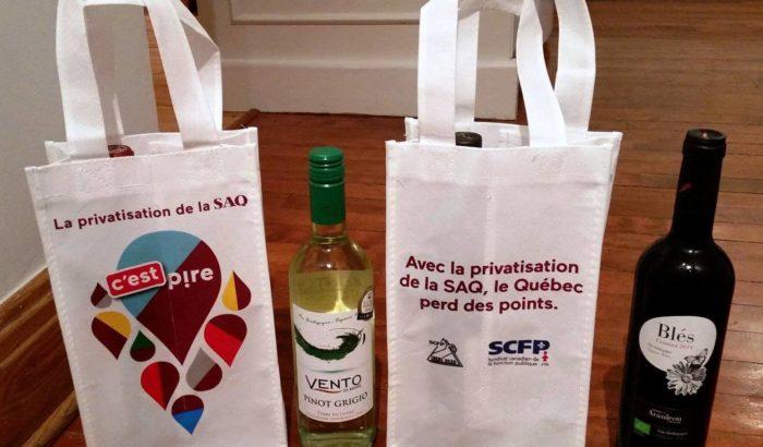 «La privatisation de la SAQ... c'est pire!»Opération de sensibilisation devant cinq succursales de la SAQ du Grand Montréal