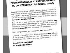 Le personnel du SPGQ lance un message de solidarité  aux professionnels du gouvernement