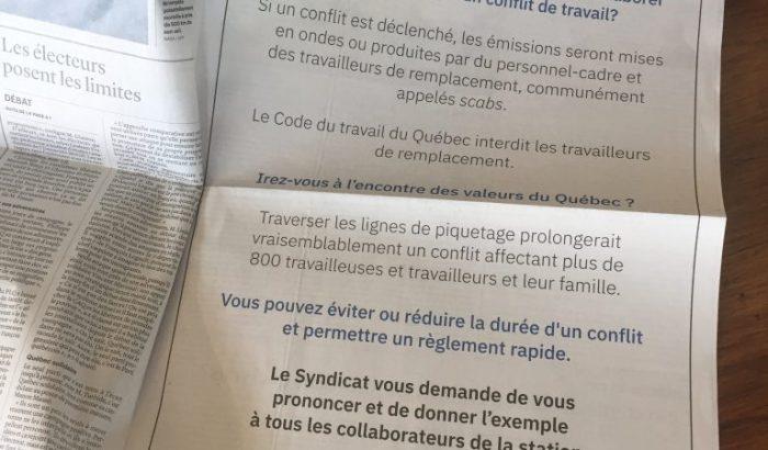Publicité et manifestation – Les employé(e)s de TVA plaident avec les partis politiques de ne pas collaborer avec TVA en cas de conflit de travail