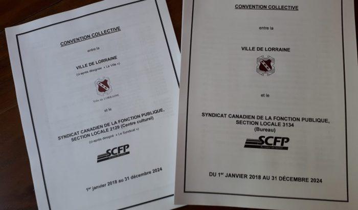 Nouvelles conventions collectives à la Ville de Lorraine