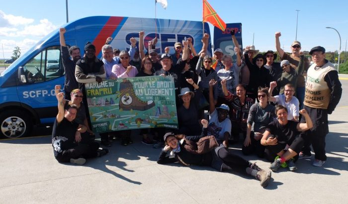 Le SCFP appuie la marche « De villes en villages pour le droit au logement » du FRAPRU
